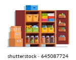 storeroom interior design with... | Shutterstock .eps vector #645087724