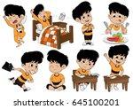 set of kid activity  kid wake... | Shutterstock .eps vector #645100201