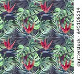 exotic plant seamless pattern.... | Shutterstock . vector #645108214