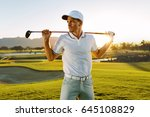 shot of male golfer with golf... | Shutterstock . vector #645108829