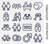 couple icons set. set of 16... | Shutterstock .eps vector #645109801