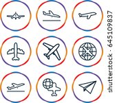 plane icons set. set of 9 plane ... | Shutterstock .eps vector #645109837