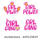 set of feminist slogans and... | Shutterstock .eps vector #645115819