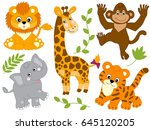 vector safari animals  jungle ... | Shutterstock .eps vector #645120205