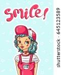 beautiful young teenager happy... | Shutterstock .eps vector #645123589