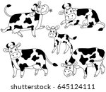 vector black and white cartoon... | Shutterstock .eps vector #645124111