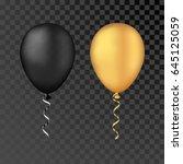 vector gold and black balloons... | Shutterstock .eps vector #645125059