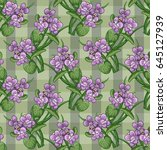 bouquet of violets tied with a... | Shutterstock .eps vector #645127939