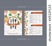 vector template restaurant menu ... | Shutterstock .eps vector #645129115