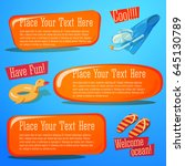 fun summer banners set  with... | Shutterstock .eps vector #645130789