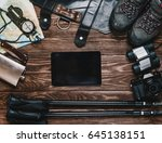 outfit for travel and hiking on ... | Shutterstock . vector #645138151