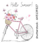 bicycle with a basket full of... | Shutterstock .eps vector #645139327
