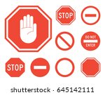 stop signs collection in red... | Shutterstock .eps vector #645142111