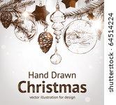 christmas hand drawn fur tree... | Shutterstock .eps vector #64514224