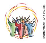 pentecost   descent of the holy ... | Shutterstock .eps vector #645142681