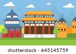 ancient architecture of china. | Shutterstock .eps vector #645145759