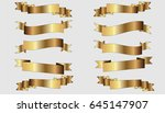 set of three golden ribbons on... | Shutterstock .eps vector #645147907