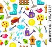 seamless pattern with gardening ... | Shutterstock .eps vector #645148399