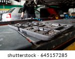 car workshop. the worker... | Shutterstock . vector #645157285