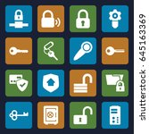 lock icons set. set of 16 lock... | Shutterstock .eps vector #645163369