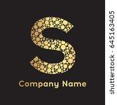 letter s bubbles vector. gold... | Shutterstock .eps vector #645163405