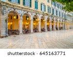 historic center of corfu town... | Shutterstock . vector #645163771