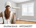 painter woman with painting... | Shutterstock . vector #645166207