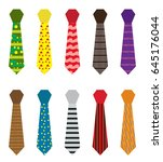 set of multicolored ties with... | Shutterstock .eps vector #645176044