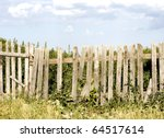 Blue  Sky Over Old Wooden Fence