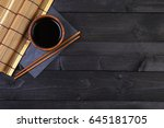 background for sushi. bamboo... | Shutterstock . vector #645181705