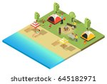 isometric camping and hiking... | Shutterstock .eps vector #645182971