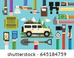 camping travel concept design... | Shutterstock .eps vector #645184759