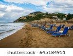 sand beach  loungers and... | Shutterstock . vector #645184951