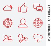 social icon. set of 9 social... | Shutterstock .eps vector #645186115