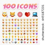 set of 108 cute emoticons on... | Shutterstock .eps vector #645187231