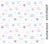 kawaii pattern background with... | Shutterstock . vector #645190609