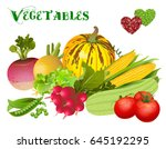 different vegetables on a white ... | Shutterstock .eps vector #645192295