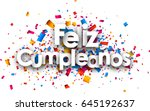 happy birthday paper card with... | Shutterstock .eps vector #645192637