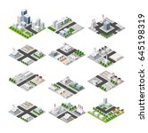 city set of isometric concept... | Shutterstock .eps vector #645198319