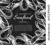 seafood hand drawn vector... | Shutterstock .eps vector #645199645
