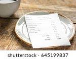 restaurant bill paying by... | Shutterstock . vector #645199837