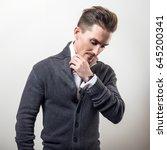 handsome young elegant man in... | Shutterstock . vector #645200341