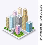 city isometric concept of urban ... | Shutterstock .eps vector #645201199