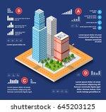 city isometric concept of urban ... | Shutterstock .eps vector #645203125