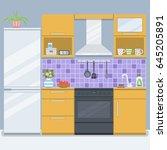 kitchen room with refrigerator... | Shutterstock .eps vector #645205891