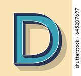 3d letter d retro vector text... | Shutterstock .eps vector #645207697