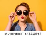 kiss for you  fashionable young ... | Shutterstock . vector #645210967