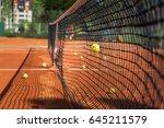 tennis court and tennis ball.... | Shutterstock . vector #645211579