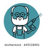 professional mater with a drill ... | Shutterstock .eps vector #645218401
