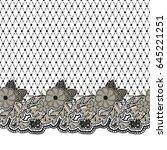 seamless black lace texture.... | Shutterstock . vector #645221251